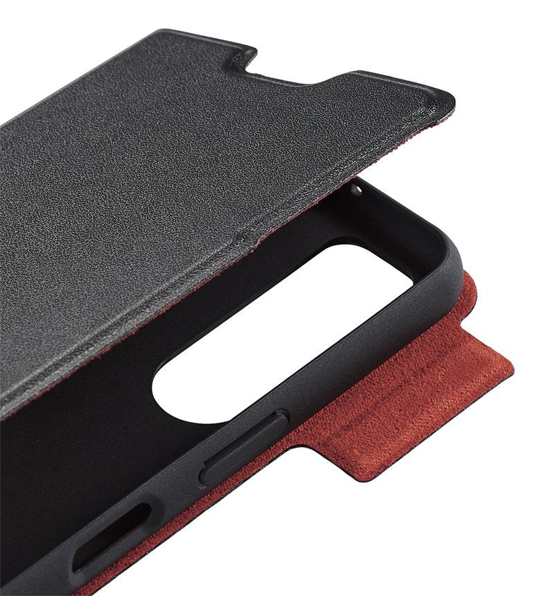 Xperia 5 II ソフトレザーケース/薄型/磁石付 ブラック PM-X203PLFUBK
