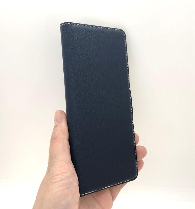 Xperia 10 II 薄型手帳ケース サイドマグネット ネイビー×ブラウン 5490XP102BO