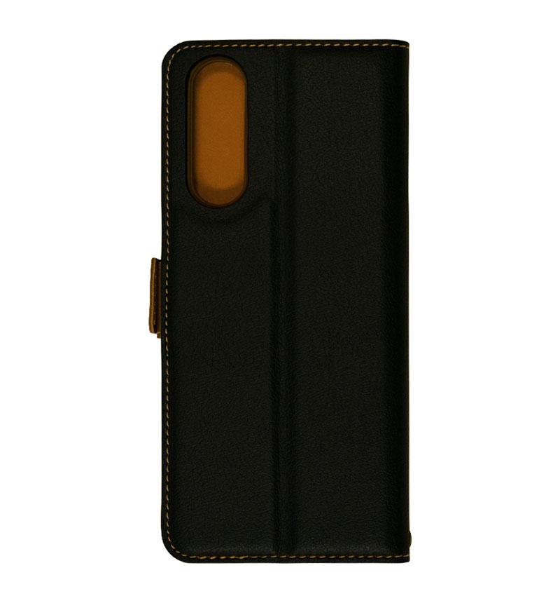 Xperia 5 II 薄型手帳ケース サイドマグネット ブラック×ダークブラウン 5886XP52BO
