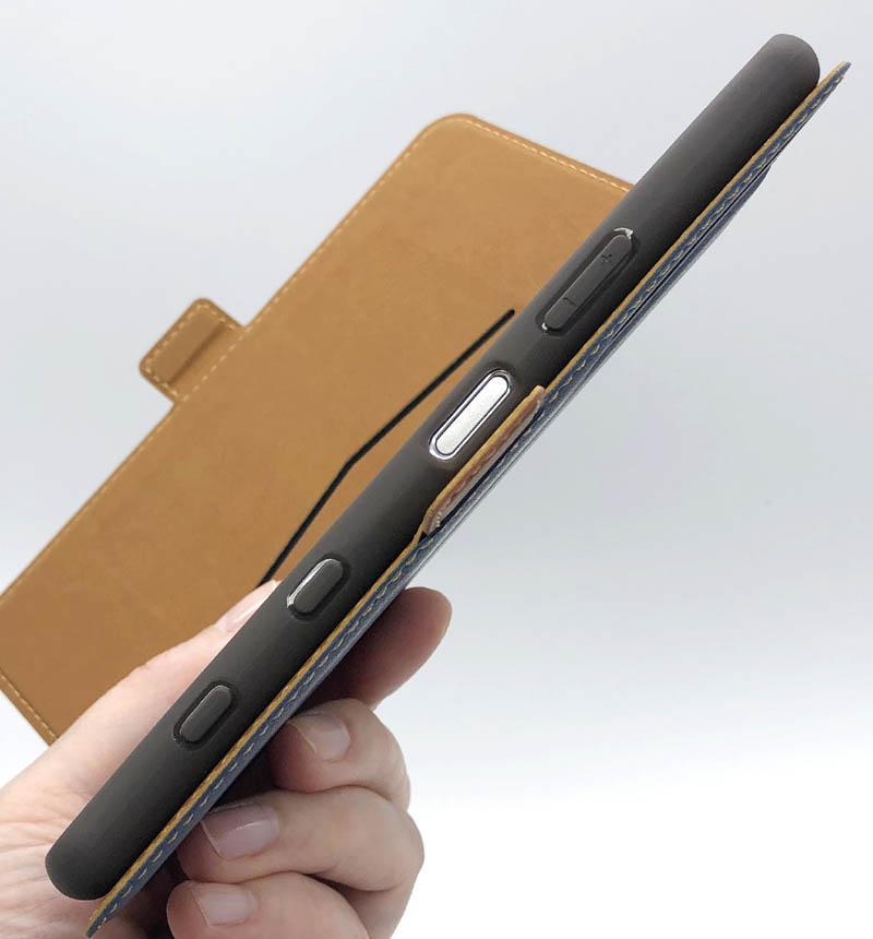Xperia 5 II 薄型手帳ケース サイドマグネット ネイビー×ブラウン 5887XP52BO