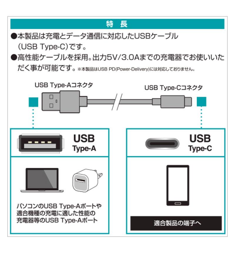 充電・通信ケーブル TypeA -TypeC 1.2m ブラック RBHE262