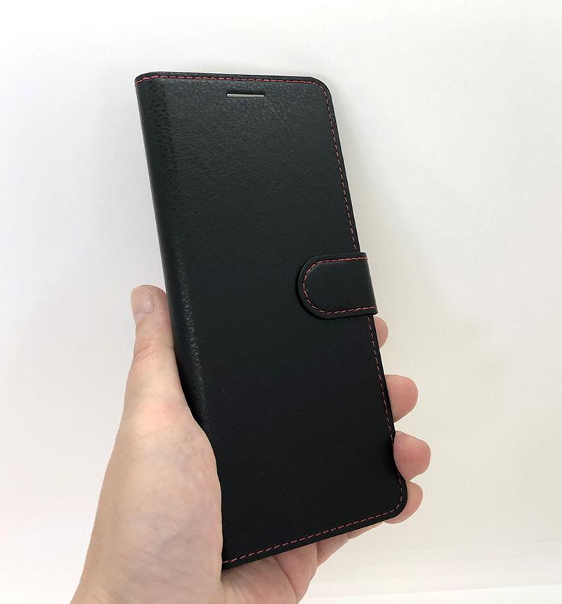 Xperia 10 II 手帳型ケース シンプル マグネット スリープ機能対応 ブラック/レッド RT-RXP10ELC3/BR
