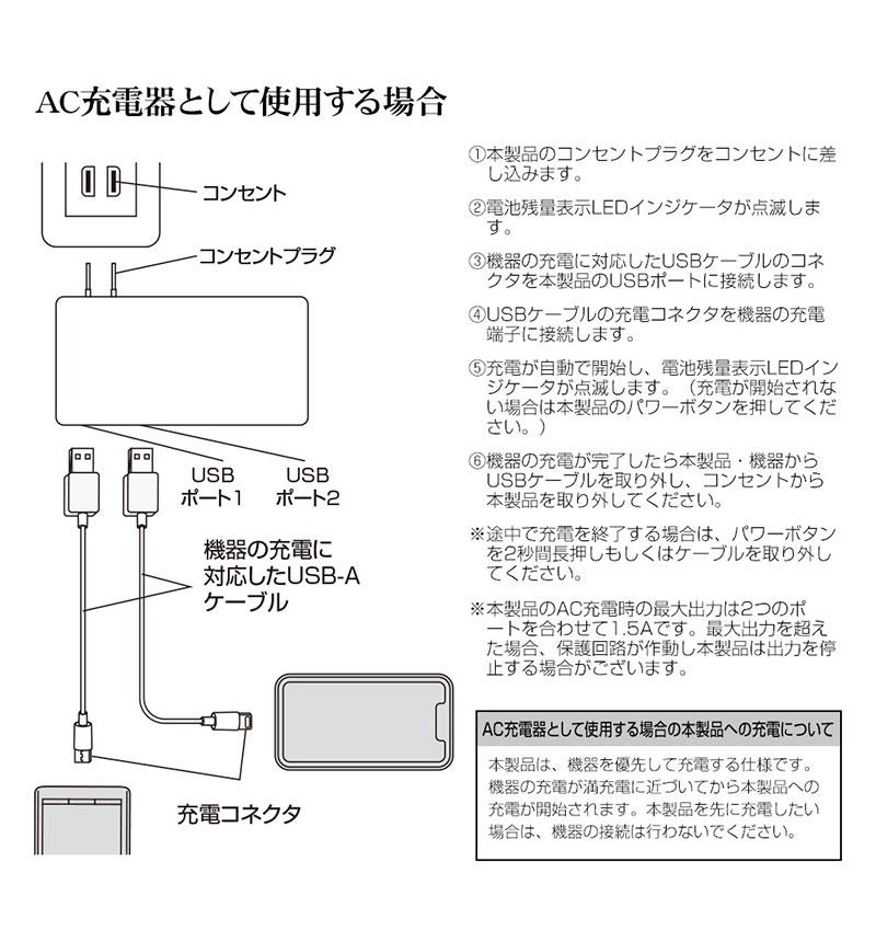5,000mAh AC付リチウム USB-A2ポート 2.1A出力 LP ライトピンク RLI050AC2A01LP