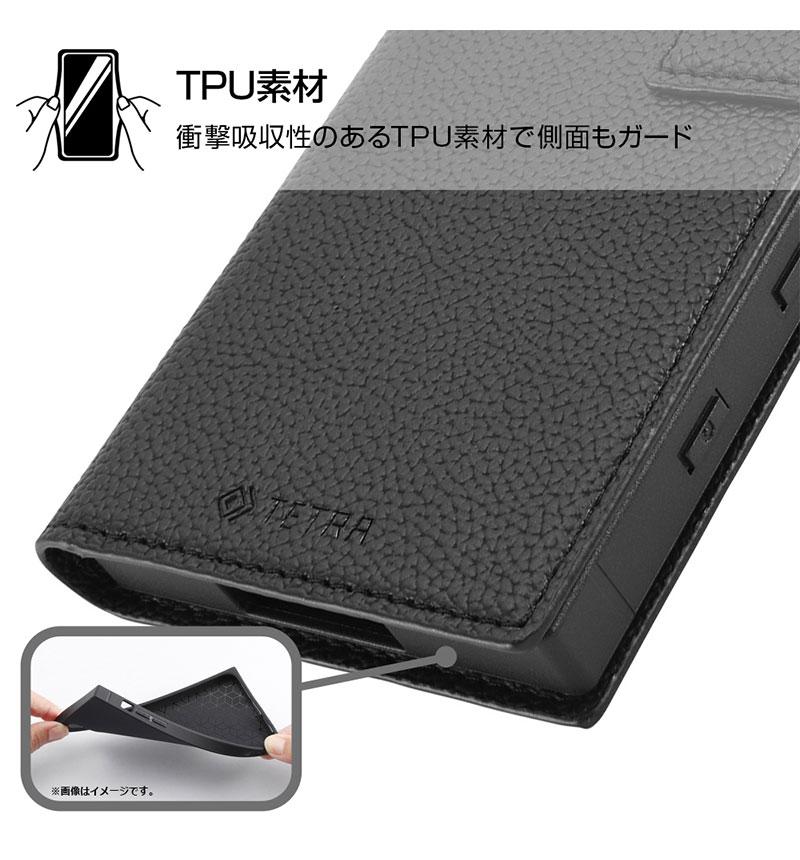Xperia 5 II 耐衝撃 手帳型レザーケース TETRA ダークネイビー RT-RXP5M2TBC3/DN
