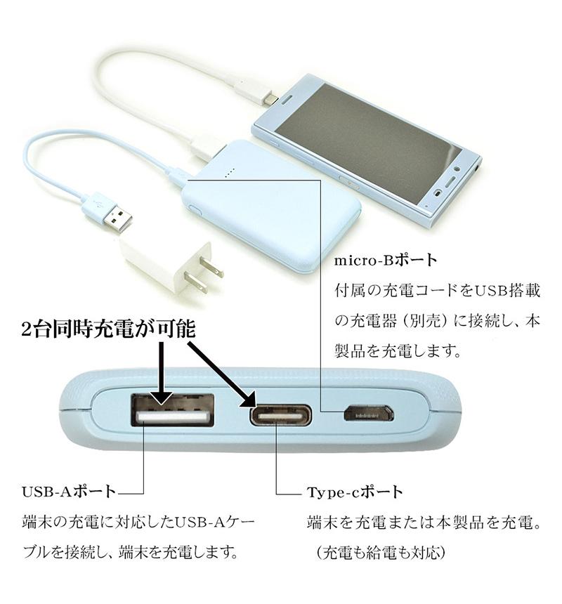 モバイルバッテリー Xperia Type-C/A 対応 Smart IC 2.1A出力 5000mAh 薄型 軽量 コンパクト 飛行機持ち込み可 充電用microUSBケーブル付 2台同時充電 LB ライトブルー RLI050M2A01LB