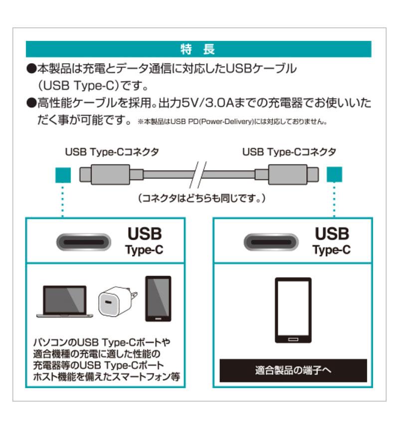 充電・通信ケーブル TypeC-TypeC 1.2m ブラック RBHE270