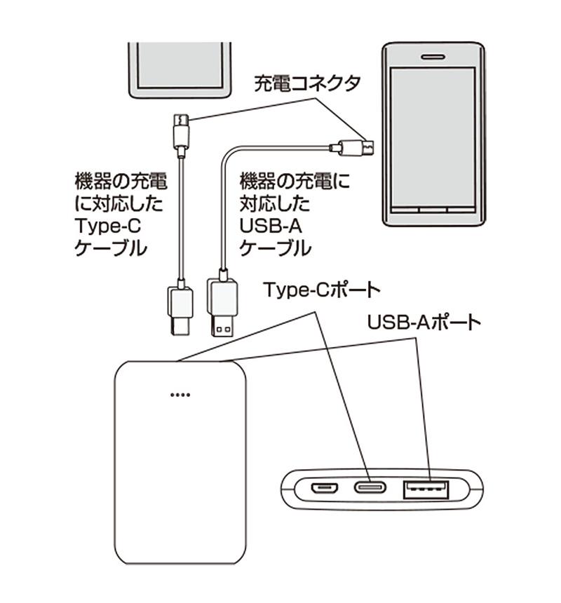 モバイルバッテリー Xperia Type-C/A 対応 Smart IC 2.1A出力 5000mAh 薄型 軽量 コンパクト 飛行機持ち込み可 充電用microUSBケーブル付 2台同時充電 WH ホワイト RLI050M2A01WH