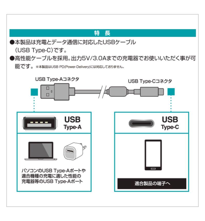 充電・通信ケーブル TypeA -TypeC 4m ブラック RBHE278