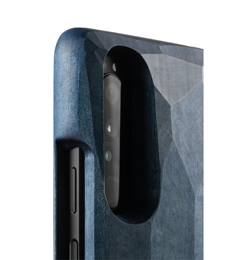 Real Wood Case for Xperia 1 III 平彫かえで/藍染 GRT012-kaede