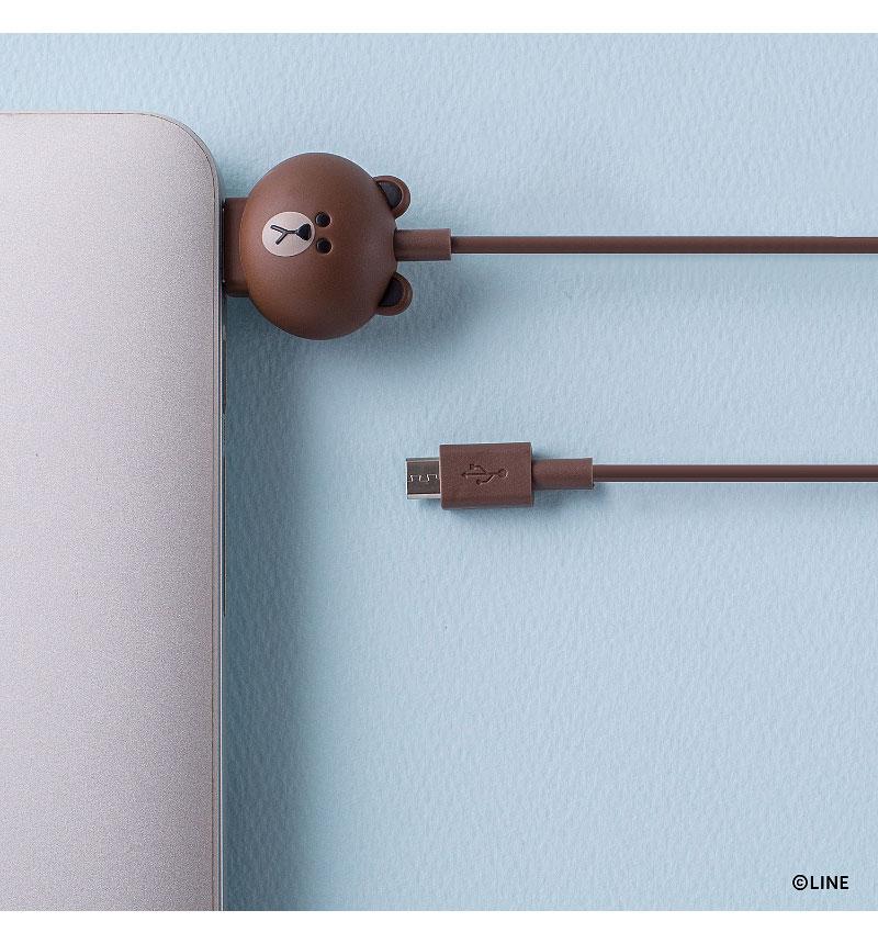 LINE FRIENDS 充電&データ Micro USBケーブル ブラウン KCL-AMC001