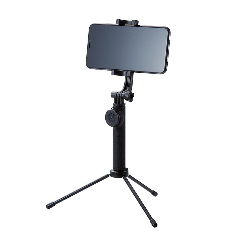 Bluetooth自撮り棒/回転ホルダー型/三脚付/45cm ホワイト P-SSBTRWH