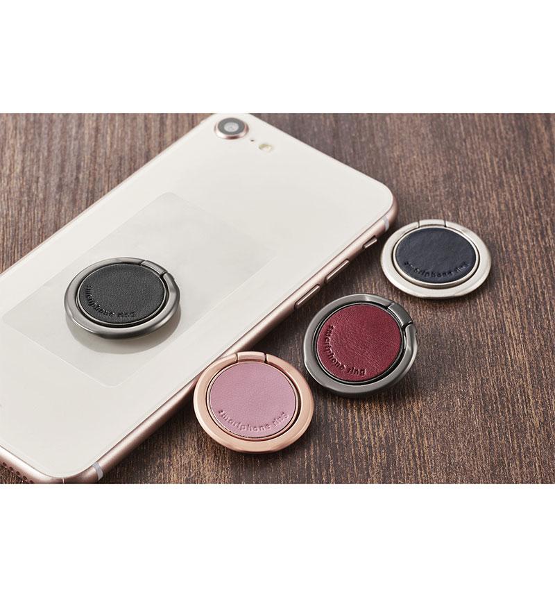 スマートフォン用ストラップ/スマホリング/レザー/薄型 ピンク P-STRSLLPN