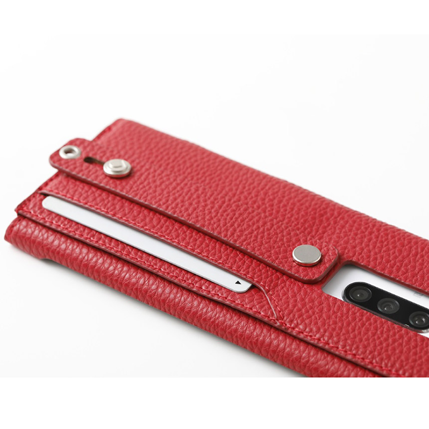 clings Slim Hand Strap Case for Xperia1 レッド DCS-XP1PUALRD