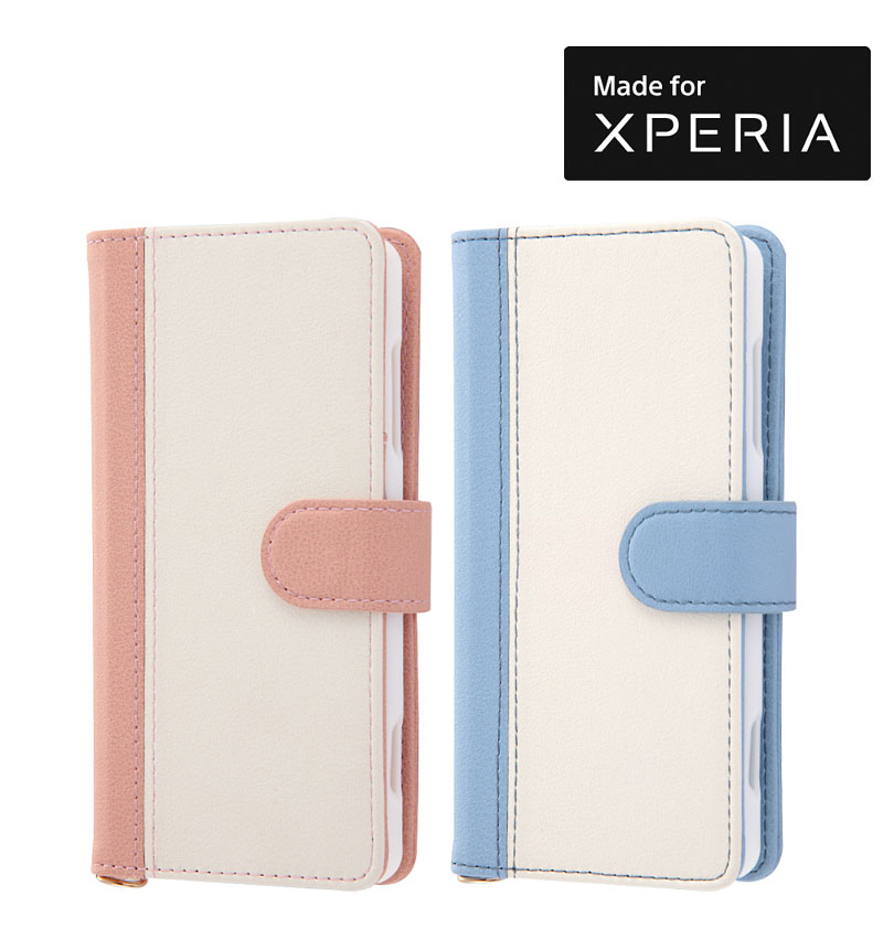 Xperia XZ2 Compact 手帳 ノーブル ブルー/ホワイト RT-RXZ2COLBC10/AW