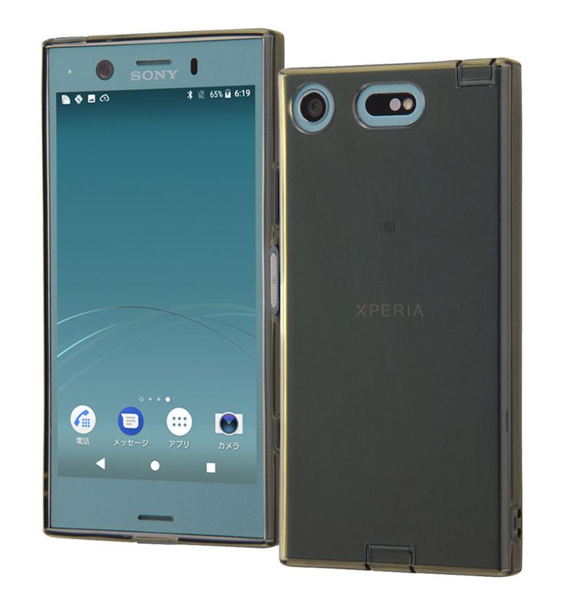 Xperia XZ1 Compact TPUソフトケース コネクタキャップ付き ブラック RT-RXZ1CTC10/B