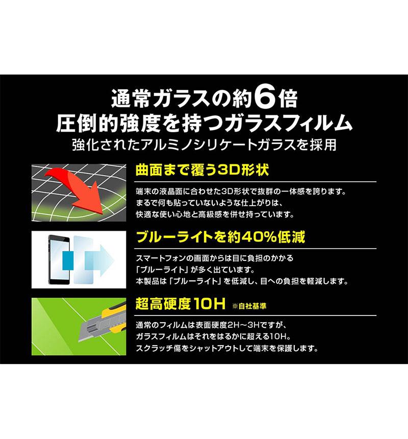 Xperia 1 III ガラスフィルム 防埃 3D 10H アルミノシリケート 全面保護 ブルーライトカット ブラック RT-RXP1M3RFG/BMB