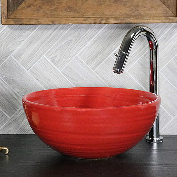 赤鉄 手洗い鉢【小型サイズ】 信楽焼き手洗器 陶器の手水鉢 陶器 丸型 [tr-2272]