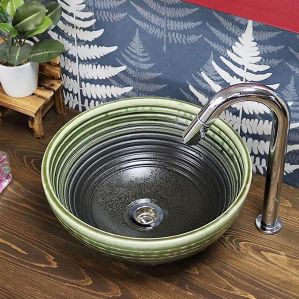 緑風千段 手洗い鉢【小型サイズ】 信楽焼き手洗器 陶器の手水鉢 陶器 丸型 [tr-2274]