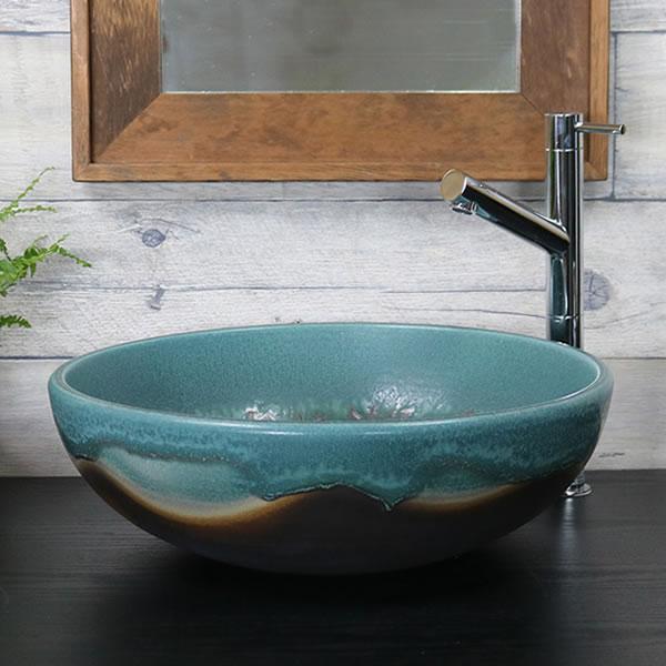 緑ながし窯変(ろ) 手洗い鉢【中型サイズ】 信楽焼き手洗器 陶器の手水鉢 [tr-3249]