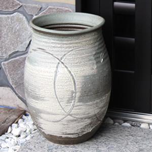 信楽焼きかさたて 古陶白窯変傘立て 陶器[kt-0202]