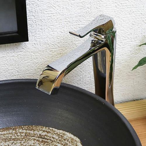 混合水栓 立ち水栓 【手洗い鉢用の立水栓】 銀 シルバー クロムメッキ [se-0014]