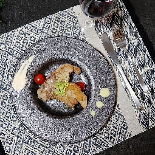 信楽焼 利休黒リム皿