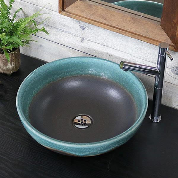 緑ながし窯変(は) 手洗い鉢【中型サイズ】 信楽焼き手洗器 陶器の手水鉢 [tr-3250]