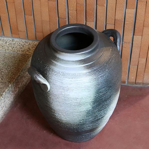 信楽焼きかさたて 耳付き変形大壷傘立て 陶器 大つぼ [kt-0201]