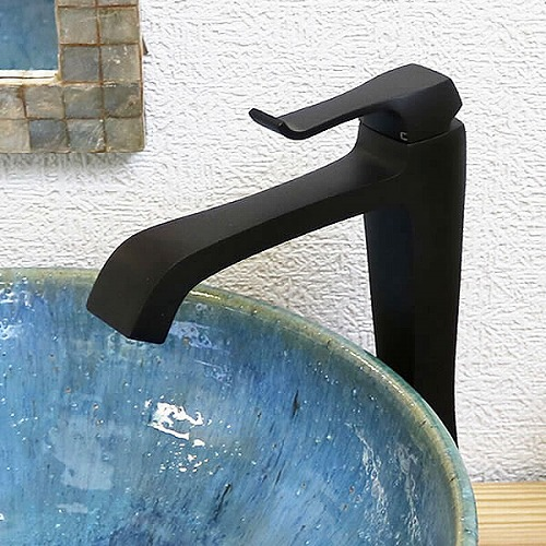 混合水栓 立ち水栓 【手洗い鉢用の立水栓】 黒 マットブラック [se-0015]