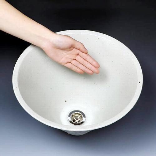 手洗い鉢 【小型サイズ】 円すい型 白色 信楽焼き手洗器! 陶器の手水鉢 つぼ ホワイト ソリ型 [tr-2256]