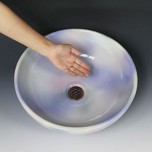 虹色 手洗い鉢【中型サイズ】 信楽焼き手洗器 陶器の手水鉢 [tr-3251]