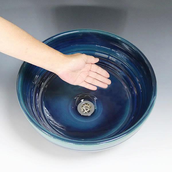 藍の色千段深型 手洗い鉢【中型サイズ】 信楽焼き手洗器 陶器の手水鉢 洗面ボウル[tr-3239]