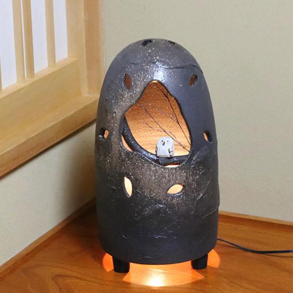 信楽焼きあかり フクロウ照明 あんどん 陶器灯り 陶器照明 しがらき [ak-0003]