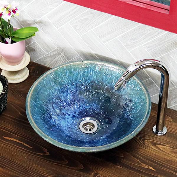 青ビードロ 手洗い鉢【小型サイズ】 信楽焼き手洗器 陶器の手水鉢 陶器 丸型 [tr-2275]