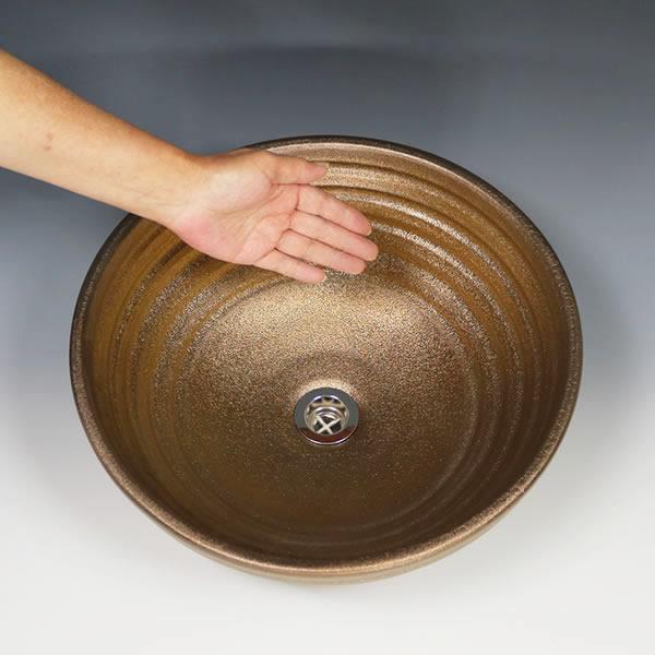金彩深型 手洗い鉢【中型サイズ】 信楽焼き手洗器 陶器の手水鉢 洗面ボウル 金色 [tr-3241]