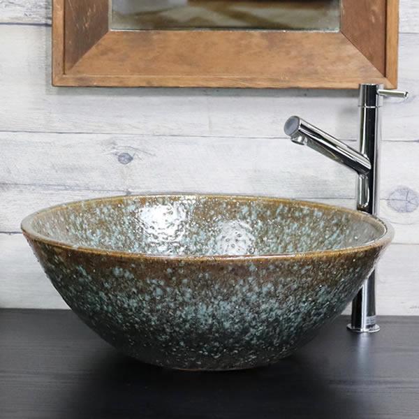 緑古信楽手洗い鉢【中型サイズ】 信楽焼き手洗器 陶器の手水鉢 洗面ボウル 手水鉢 [tr-3200]