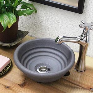 黒の流水手洗い鉢【ミニサイズ】信楽焼き手洗器!陶器の手水鉢[tr-1091]