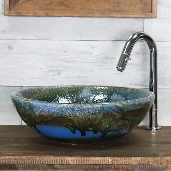 青ビードロ浅型 手洗い鉢【中型サイズ】 信楽焼き手洗器 陶器の手水鉢 洗面ボウル [tr-3243]