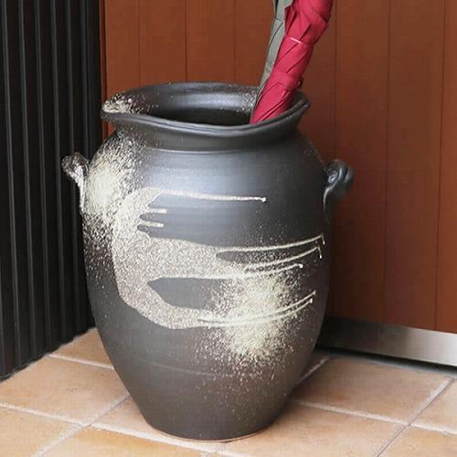 信楽焼きかさたて 窯肌つぼ型傘立て 陶器かさたて [kt-0172]