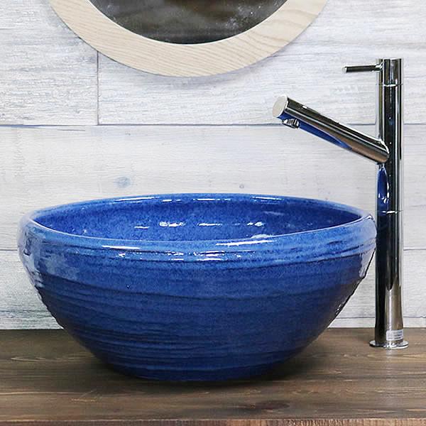 青磁たわみ手洗い鉢【小型サイズ】 信楽焼き手洗器 陶器の手水鉢 洗面ボウル [tr-2279]