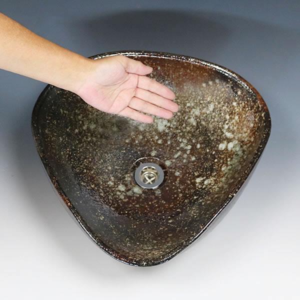 茶窯変変形 手洗い鉢【中型サイズ】 信楽焼き手洗器 陶器の手水鉢 洗面ボウル [tr-3210]