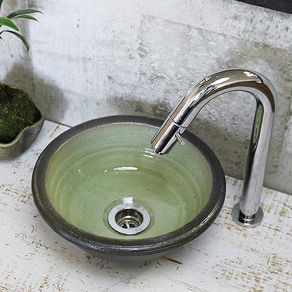緑ガラス手洗い鉢【ミニサイズ】 信楽焼き手洗器!陶器の手水鉢 トイレ用 [tr-1080]