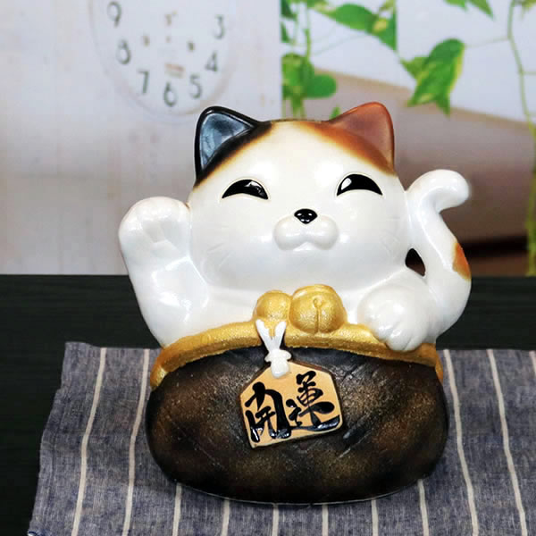 がま口しっぽ猫 おきもの 信楽焼ねこ置き物 ネコ しがらき焼 [ok-0080]