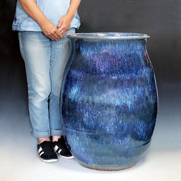 大壷 信楽焼大つぼ 花瓶 花入れ 大ツボ 陶器つぼ 大きな花瓶 青色[ha-0214]