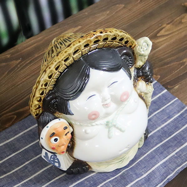 信楽焼きたぬき おかめひょっとこ狸 陶器タヌキ しがらきやき 狸 [ta-0359]