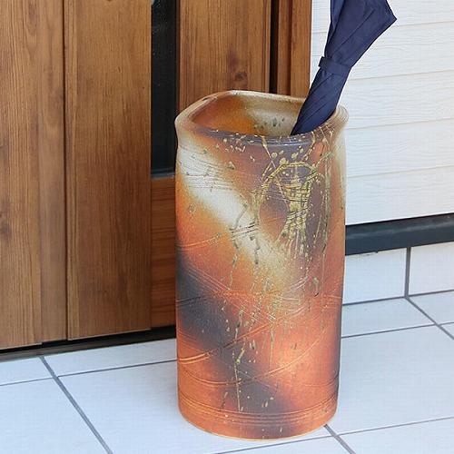 信楽焼かさたて 火色角 傘立て 陶器[kt-0303]