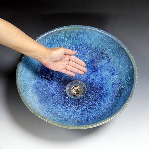 青ビードロ 信楽手洗い鉢【中型サイズ】 信楽焼き手洗器 陶器の手水鉢 洗面ボウル [tr-3238]