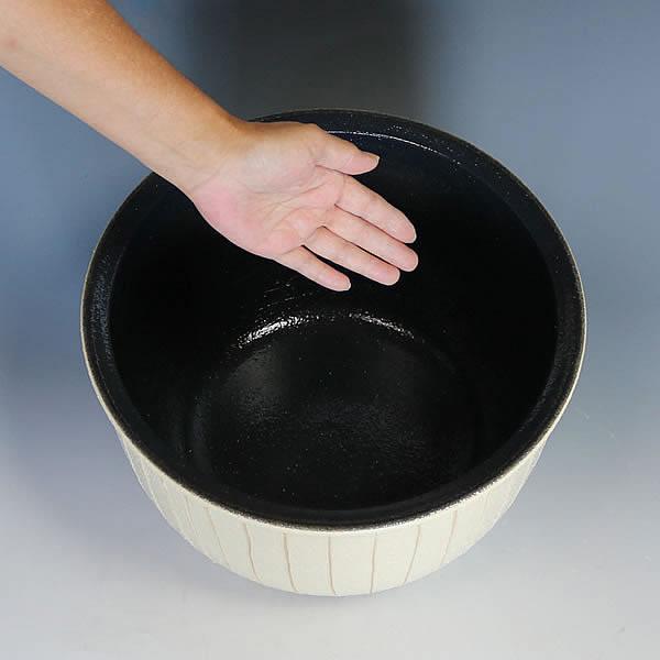立線ホワイト水鉢 信楽焼 金魚鉢、メダカ鉢にお勧め 陶器スイレン鉢 手水鉢 めだか鉢[su-0249]