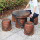 20号火色なびき草ガーデンテーブルセット 陶器のテーブルセット 信楽焼き【5点セット】[te-0002]