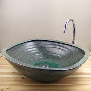 緑斑点角型(特大)手洗い鉢【大型サイズ】信楽焼き手洗器!陶器の洗面ボウル[tr-4075]
